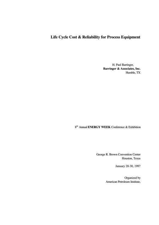 Life Cycle Cost & Reliability For Process Equipment