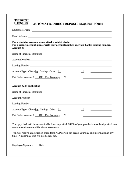automatic direct deposit request form
