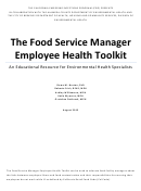 The Food Service Manager Employee Health Toolkit