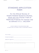 Standard Application Form For The Ethical Review Of Health-related Research Studies, Which Are Not Clinical Trials Of Medicinal Products For Human Use As Defined In S.i. 190/2004