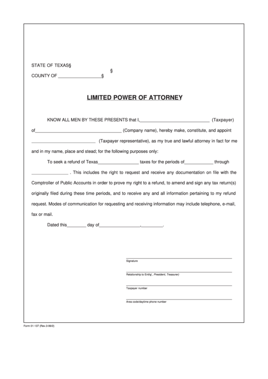 Fillable Form 01-137 - Limited Power Of Attorney Printable pdf
