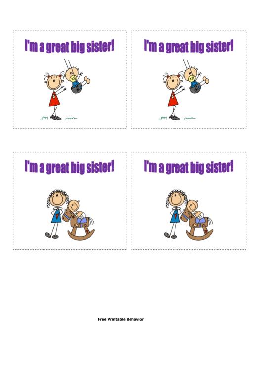 Big Sister Gift Coupon Template printable pdf download