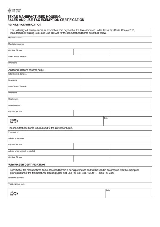 tax texas form exemption sales pdf certification manufactured printable housing fillable