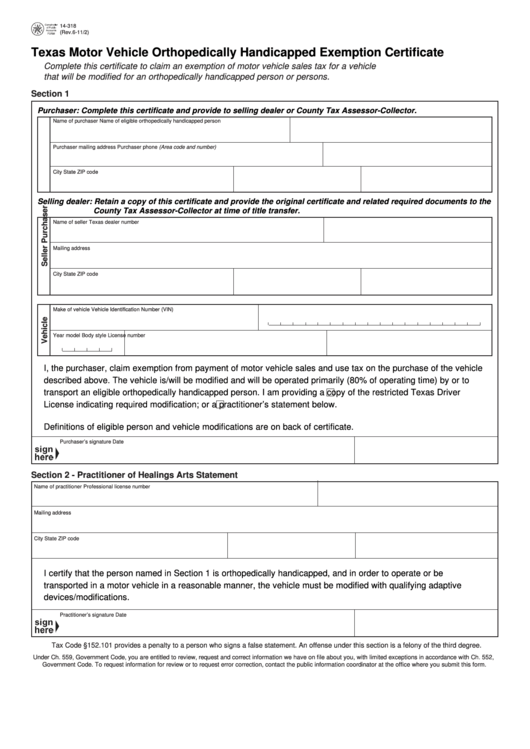 fillable form 14-318