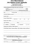 Business License Application - City Of Black Diamond - 2002