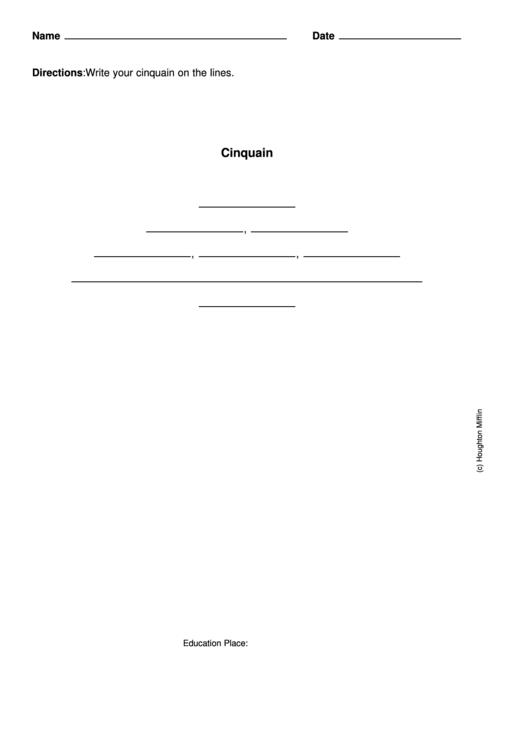 Cinquain Poem Template