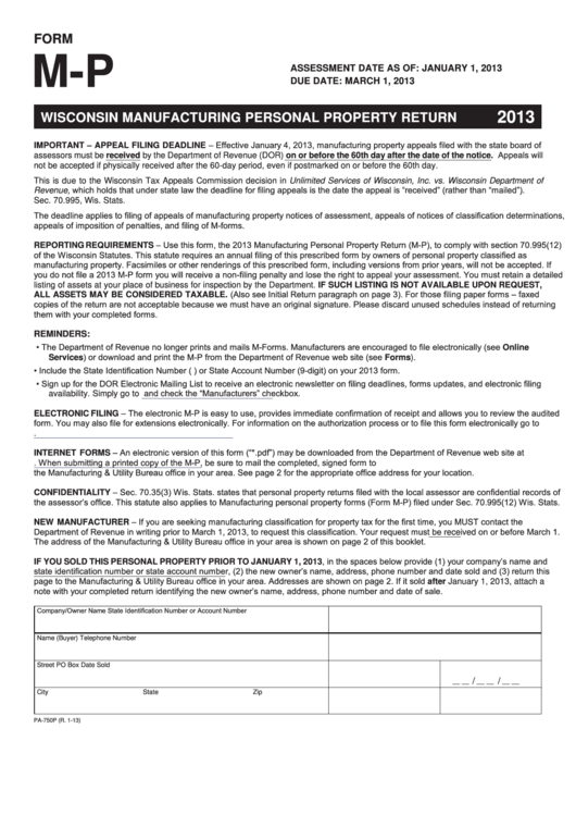 Form M-p - Wisconsin Manufacturing Personal Property Return - 2013