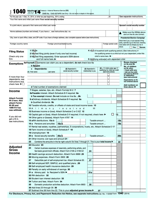 Fillable Form 1040 - U.s. Individual Income Tax Return - 2014 Printable pdf
