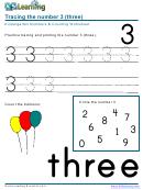 Kindergarten Numbers & Counting Worksheet - Number 3