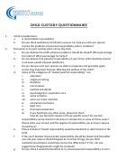 Child Custody Questionnaire Template