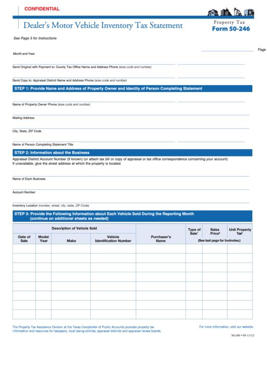Fillable Form 50 246 Dealer S Motor Vehicle Inventory