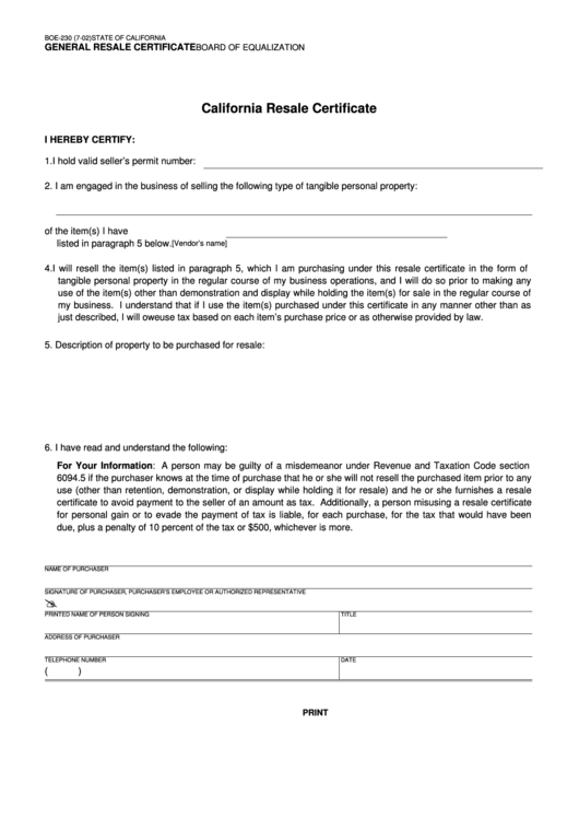 Top 13 Resale Certificate Form Templates free to download in PDF format