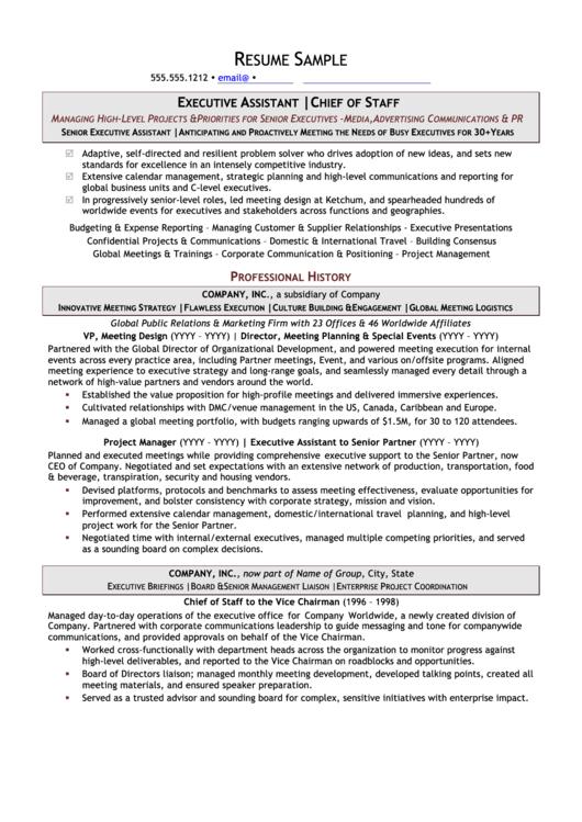 Resume Sample - Executive Assistant Printable pdf