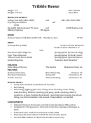 Resume Sample - Entertainment