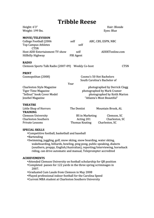 Resume Sample - Entertainment Printable pdf