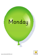 Days Of The Week Balloons Templates