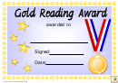 Gold Reading Award Certificate Template