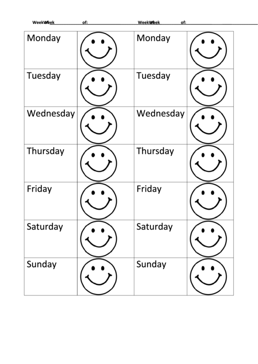 Smile Weekly Behavior Chart Printable pdf