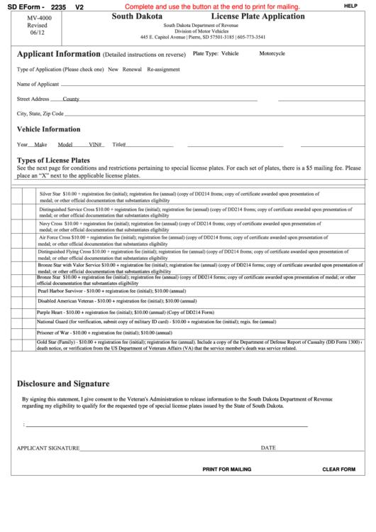 Fillable Sd Eform 2235 V2 - South Dakota License Plate Application Printable pdf