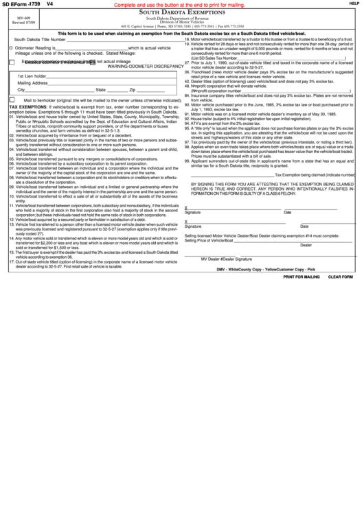 Fillable Sd Eform 1739 V4 - South Dakota Exemptions Printable pdf