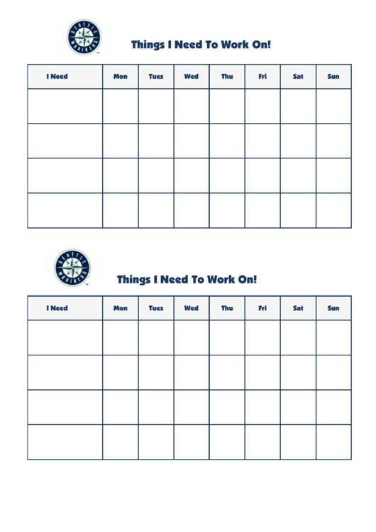 Seattle Mariners Weekly Behavior Chart