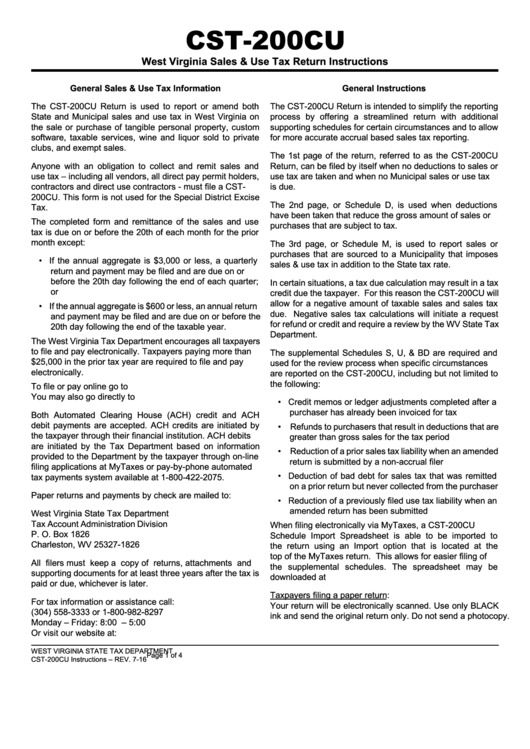 Instructions For West Virginia Sales & Use Tax Return (cst-200cu)