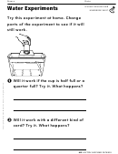 Water Experiments Air Homework Sheet