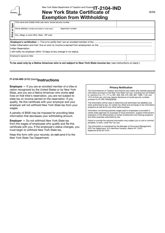 Fillable Form It-2104-Ind - New York State Certificate Of Exemption From Withholding Printable pdf