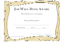 Job Well Done Award Certificate Template