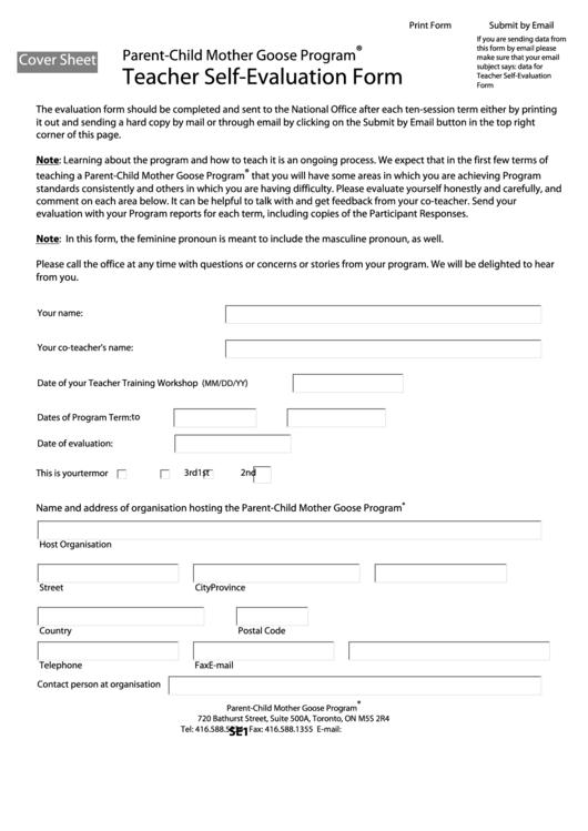 Fillable Parent Child Mother Goose Program Teacher Self Evaluation Form  Printable Pdf