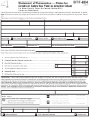 Form Dtf-804 - Statement Of Transaction - Claim For Credit Of Sales Tax Paid To Another State - New York State Department Of Taxation And Finance