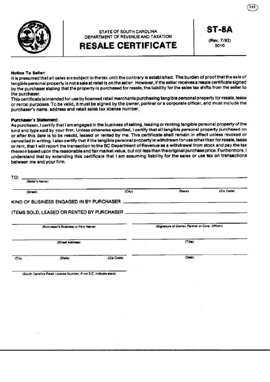 fillable form st-8a - resale certificate