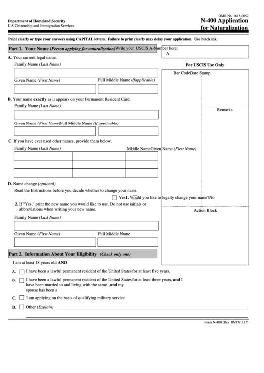 Fillable Form N-400 - Application For Naturalization Printable pdf