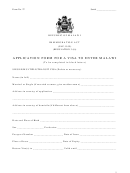 Form 27 - Application Form For A Visa To Enter Malawi