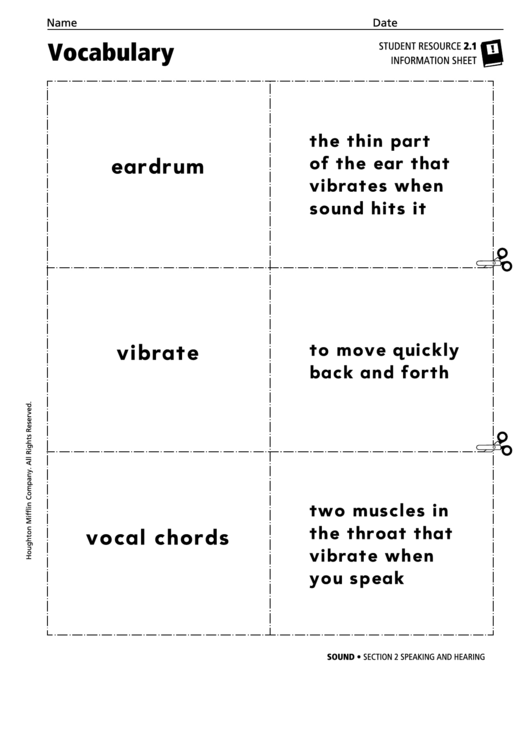 Vocabulary - Speaking And Hearing Printable pdf