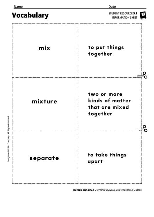 Vocabulary - Mixing And Separating Matter Printable pdf