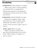 Vocabulary - Evaporation And Condensation