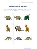 Same Dinosaurs Worksheet