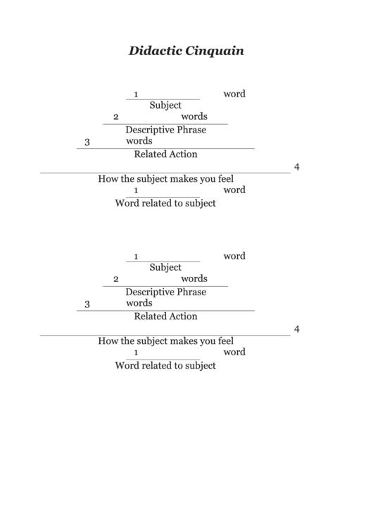 didactic cinquain poem template printable pdf download