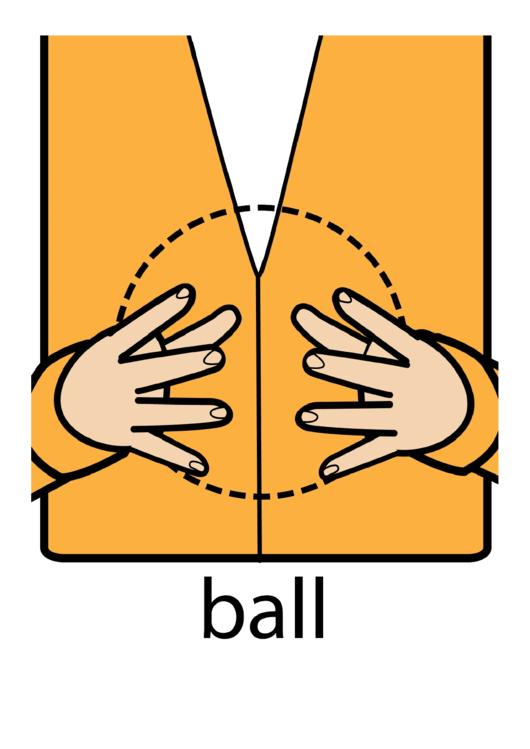 Ball Sign (Sign Language Words) Printable pdf