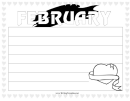 February Writing Template First Grade