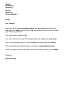 Reservation Confirmation Letter Template