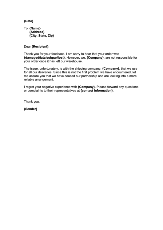 Shipping Complaint Letter