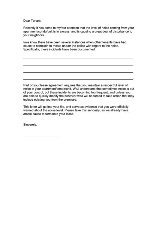 Noise Complaint Letter Printable pdf