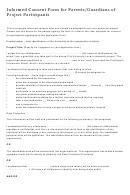 Informed Consent Form For Parents/guardians Of Project Participants