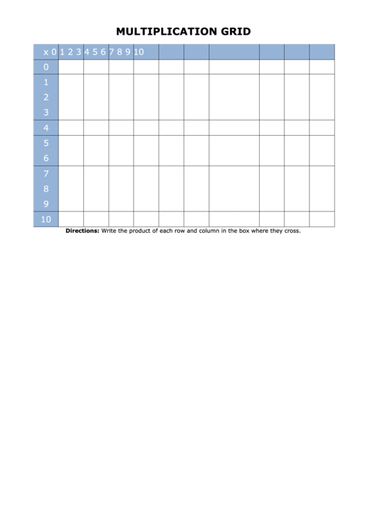 Multiplication Grid Chart