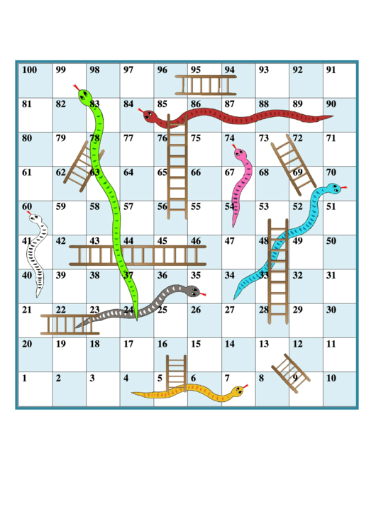 Snakes And Ladders printable pdf download