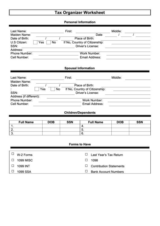 tax organizer worksheet template printable pdf download