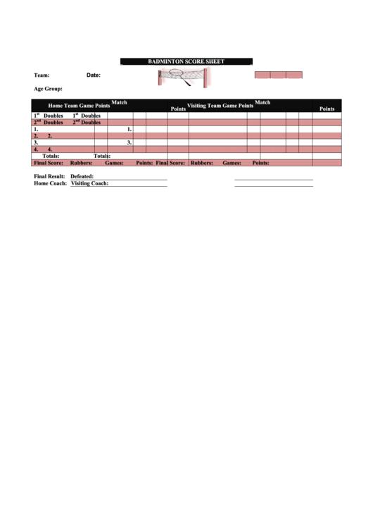 Badminton Score Sheet Printable pdf