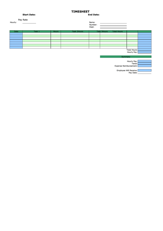 Weekly Horizontal Time Sheets Template - By Task
